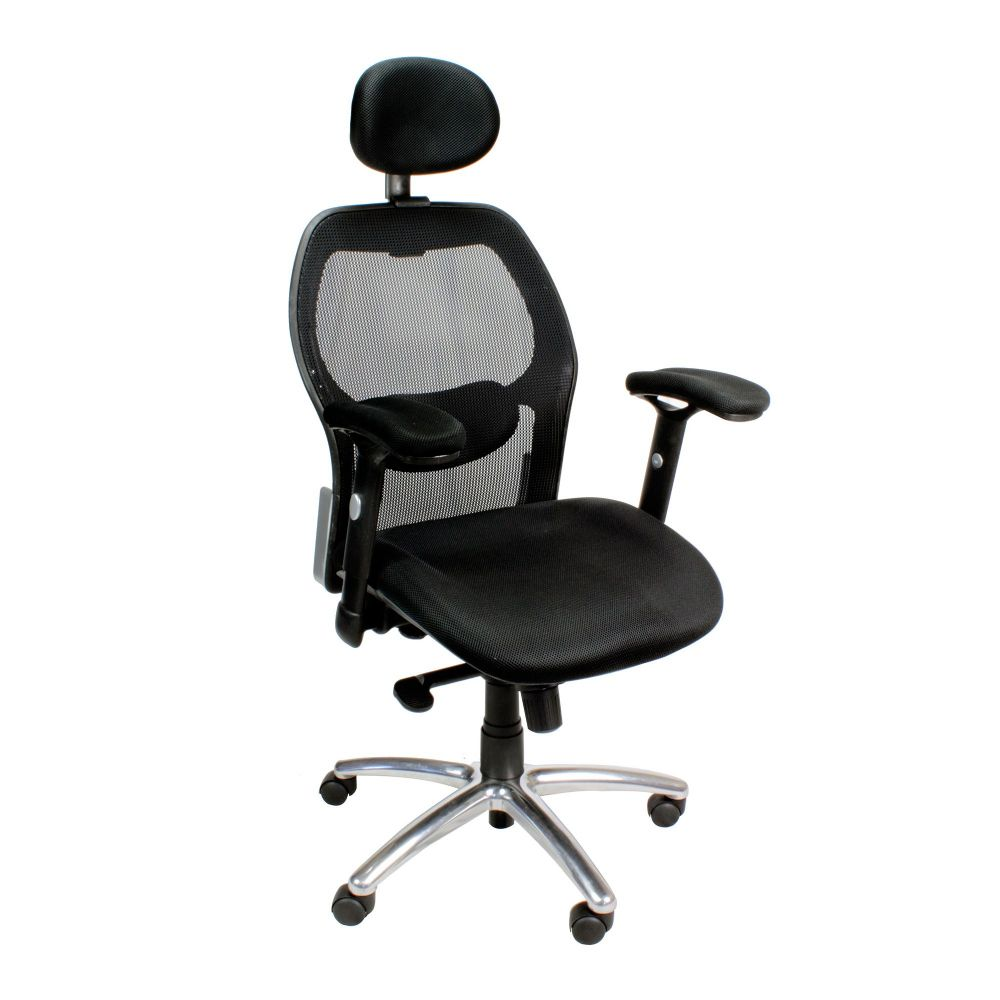 Hermes High Backrest, Synchro Mech, Operator Chair, Black, Adjustable Headrest, Chrome detail